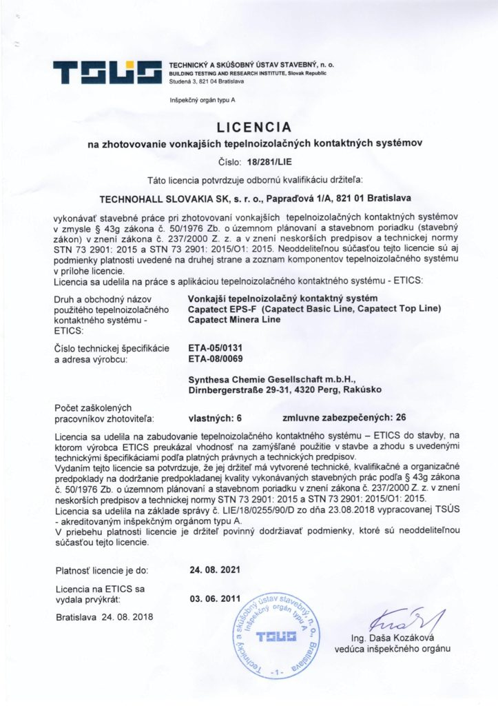 Licencia Capatect ETA-05-0131 do 2021