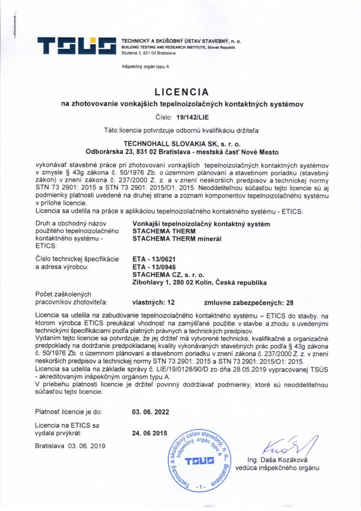 Licencia STACHEMA ETA-13-0621 do 2022