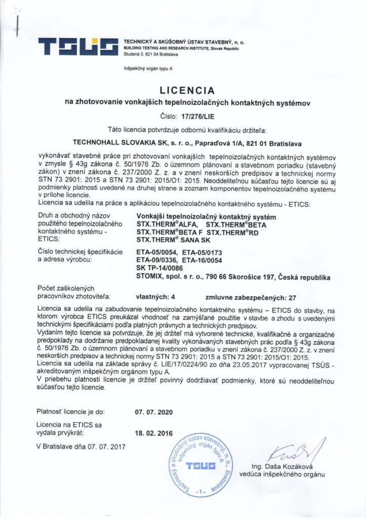 Licencia STX.THERM ETA-05-0054, ETA-05-0173 do 2020
